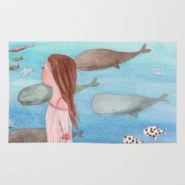 Sleeping whales Rug