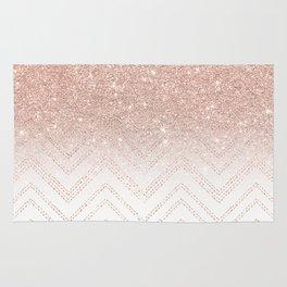 Modern faux rose gold glitter ombre modern chevron stitches pattern Rug