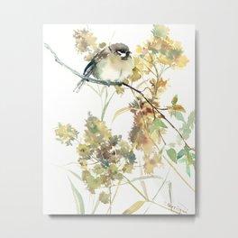 Sparrow and Dry Plants Metal Print