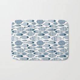 Blue Fish White Bath Mat