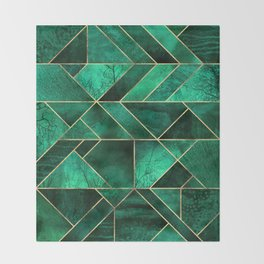 Abstract Nature - Emerald Green Throw Blanket