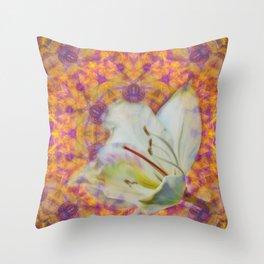 Bauhinia on vibrant kaleidoscope Throw Pillow
