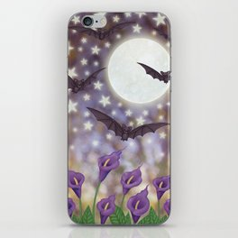 the moon, stars, bats, & calla lilies iPhone Skin