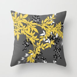 TREE BRANCHES YELLOW GRAY  AND BLACK LEAVES AND BERRIES Throw Pillow
