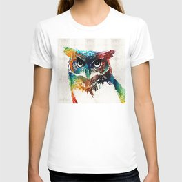 Colorful Owl Art - Wise Guy - By Sharon Cummings T-shirt