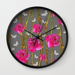 WHITE BUTTERFLIES & PINK ROSE THORN CANES  GREY ART Wall Clock