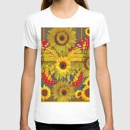 MODERN GREY-RED BUTTERFLY SUNFLOWERS TAPESTRY  ART T-shirt