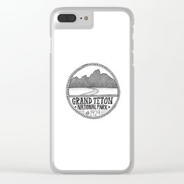 Grand Teton National Park Illustration Clear iPhone Case