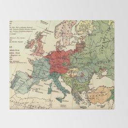 Vintage Linguistic Map of Europe (1907) Throw Blanket