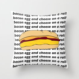 bacon egg and cheese Throw Pillow