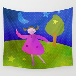 Dancing by the light of the moon Wall Tapestry