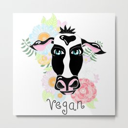Vegan cow Metal Print