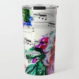 Musical Beauty - Floral Abstract - Piano Notes Travel Mug