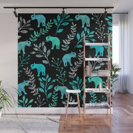 Watercolor Flowers & Elephants IV Wall Mural