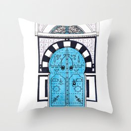 Blue Door in Sidi Bou Said with tiles Throw Pillow