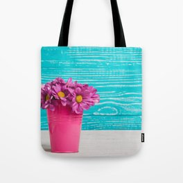Pink Flowers x Turquoise Wood Tote Bag