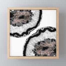 Gray Black White Agate Glitter Glamor #4 #gem #decor #art #society6 Framed Mini Art Print