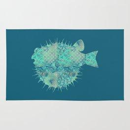 Blowfish, Pufferfish, Ballonfish, Toadies, Tropical Fish, Teal Aqua Mint Blue Rug