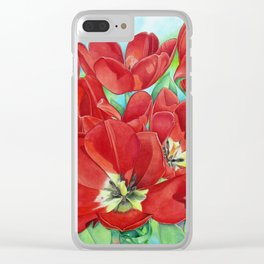 Red Tulips Clear iPhone Case