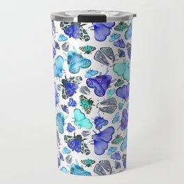 Blue Moths & Butterflies Travel Mug
