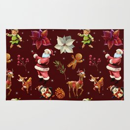 Joyful Christmas Santa Elfs Deers Rug