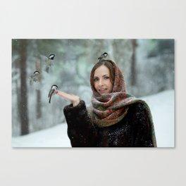 Small titmouse bird in women's hand Canvas Print