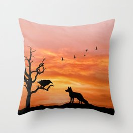 Fox and raven Throw Pillow