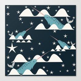 narwhal in ocean blue Canvas Print