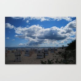 Roofed wicker beach chairs by the Baltic Sea Canvas Print
