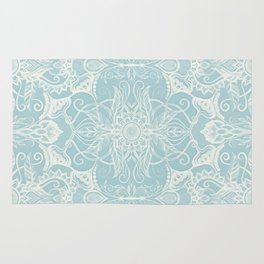 Floral Pattern in Duck Egg Blue & Cream Rug