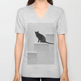 Black cat on steps Unisex V-Neck