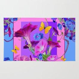 BUTTERFLIES & PURPLE-BLUE MORNING GLORY VINES  PINK VINETTE Rug