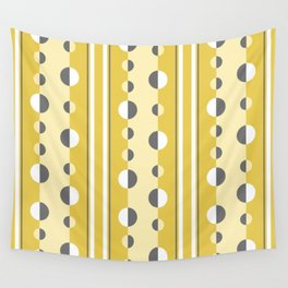 Circles and Stripes in Mustard Yellow and Gray Wall Tapestry