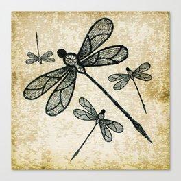 Dragonflies on tan texture Canvas Print