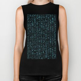 Hieroglyphics Moonstone BLUE / Ancient Egyptian hieroglyphics pattern Biker Tank
