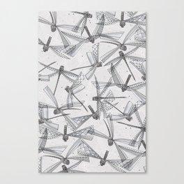 watercolor dragonflies silver Canvas Print