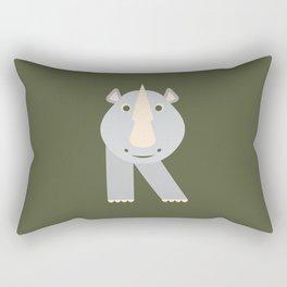 Letter R // Animal Alphabet // Rhino Monogram Rectangular Pillow