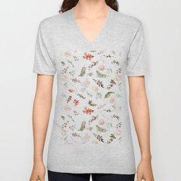 Coral pink green watercolor hand painted floral Unisex V-Neck