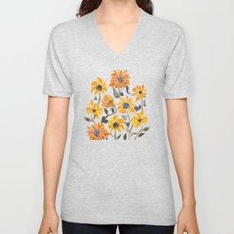 Sunflower Watercolor – Yellow & Black Palette Unisex V-Neck