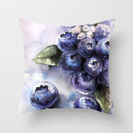 Watercolor Blueberries - Food Art Throw Pillow