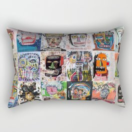 Basquiat Faces Montage Rectangular Pillow
