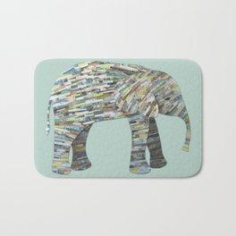 Elephant Paper Collage in Gray, Aqua and Seafoam Bath Mat