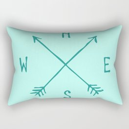 Find My Way \\ Teal Compass Art Rectangular Pillow