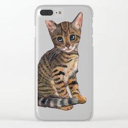 Bengal Kitten, Blue-eyed Kitten, Cute Cat Clear iPhone Case