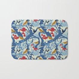 North American Forest Pattern (Blues) Bath Mat