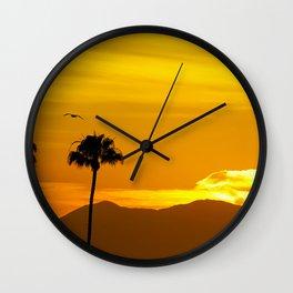 Seagull Over Saddleback at Sunrise Wall Clock