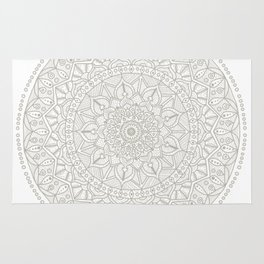 Gray Circle of Life Mandala on White Rug