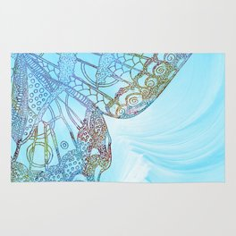 Colorful Abstract Butterfly Design Rug