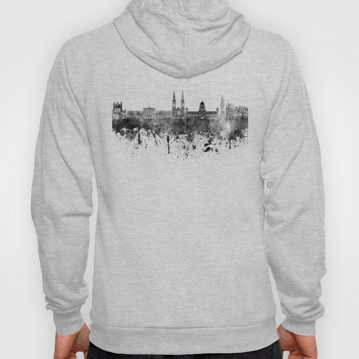Belfast skyline in black watercolor on white background Hoody