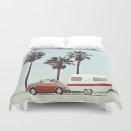 NEVER STOP EXPLORING - CAMPING PALM BEACH Duvet Cover